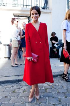 Miroslava Duma in a red coat dress carrying a matchy VBH envelope clutch #StreetStyle