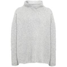 Annette Gortz Pont Oversized Jumper (610 NZD) ❤ liked on Polyvore featuring tops, sweaters, clothes - tops, jumper, silver, over sized sweaters, cable sweater, wrap top, cable-knit sweater and wrap sweater