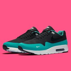 """Mini-swooshes are back on the Air Max 1 with this new """"Hyper Jade"""" colorway. For a detailed look, hit the link in our bio."""