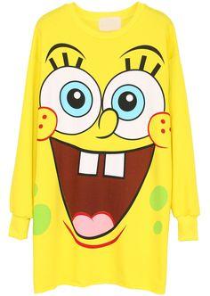 Cartoon SpongeBob Print Yellow Sweatshirt