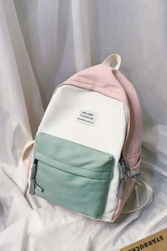 Color Block Slogan Patch Decor Backpack – Bag models from Adriana Cute Backpacks For School, Cute School Bags, Tote Bags For School, Cute Mini Backpacks, Handbags For School, Trendy Backpacks, Shoulder Bags For School, School Bags For Girls, Girl Backpacks
