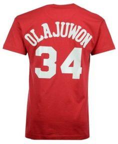 2954ed904 Mitchell   Ness Men s Hakeem Olajuwon Houston Rockets Hardwood Classic  Player T-Shirt - Red