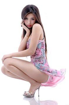 Petite Wang In a Dress #Asian #Petite #HighHeels