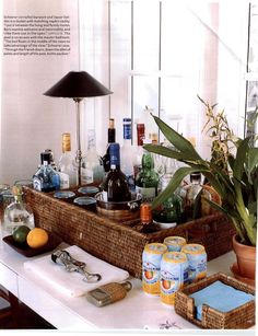 Lillian August Bar Cart On Display At The Hampton Designer Showhouse Two Shelf Cylindrical Tower With Antique Bronze Frame Guard Rails Extend A