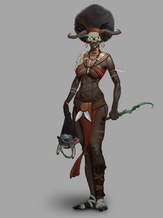 Vedeshnik sketch by Artem Serdechny on ArtStation. Black Characters, Fantasy Characters, Fictional Characters, Witch Doctor, Afro Art, Dark Matter, Dungeons And Dragons, Mythology, Sci Fi