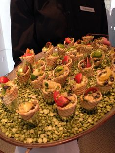 Passing Tray, tomato avocados salad in a sesame cone Edible Table #coloradospringsevents #gardenofthegodsgourmetcatering #horsdoeuvres #olympictraingcenter #catering