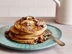 Get Banana and Pecan Pancakes with Maple Butter Recipe from Food Network