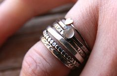 Textured Stacks sterling hammered stacking rings by modernmama -etsy Vintage Jewelry, Unique Jewelry, Heart Jewelry, Stacking Rings, Etsy Jewelry, Hand Stamped, Jewelery, Rings For Men, Silver Rings