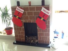 Krb, fireplace from card boards, painted and decorated