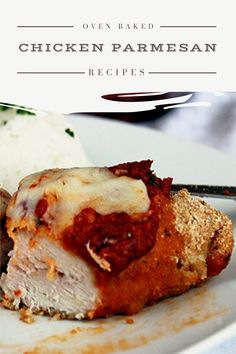 Easy, delicious and savory recipes for oven baked chicken parmesan. Let's try this amazing recipe at your home. Oven Baked Chicken Parm Recipe, Easy Chicken Parmesan Bake, Parmesan Chicken Breast Recipe, Yummy Chicken Recipes, Baked Chicken Breast, Oven Recipes, Allrecipes, Lemon, Betty Crocker