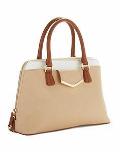 Calvin Klein Leather Satchel Handbag nude
