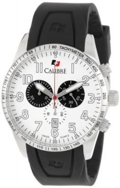 f9914cf25aa Relógio Calibre Men s Recruit Stainless Steel Black Rubber Band Chronograph  Date Watch