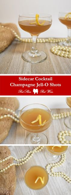 Sidecar Cocktail Champagne Jell-O Shots recipe for Girl's Night In, Gatsby Parties, New Year's Eve, Valentine's Day, Galentine's Day, and Murder Mystery Dinners  jello shot, jello shots, gelatin, side car, sidecars, side cars, cocktails, martini, coupe, sparkling wine
