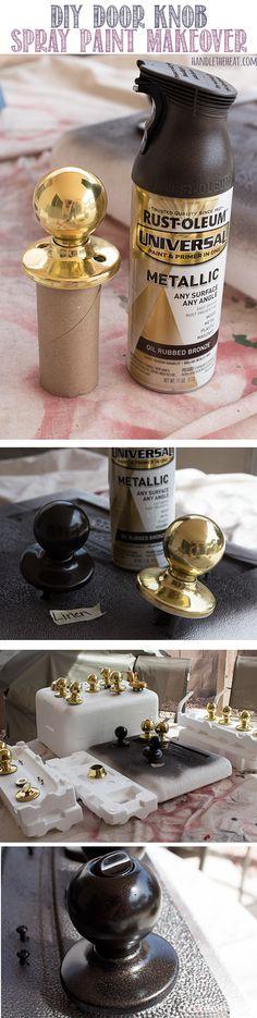 Don't buy new (and expensive)  door hardware - paint it! DIY Door Knob Spray Paint Makeover