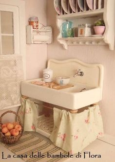Shabby country kitchen sink with sandwich preparation board - 1/12 dolls house dollhouse miniature. $40.00, via Etsy.