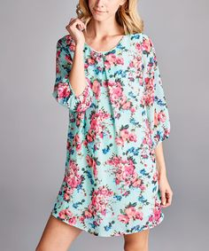 Look what I found on #zulily! Blue Floral Chiffon Shift Dress #zulilyfinds