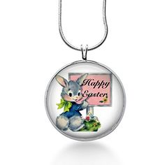 Vintage Gray Easter Bunny with Happy Easter Sign Necklace - Handmade Jewelry Fun Jewelry http://www.amazon.com/dp/B01AYS29D8/ref=cm_sw_r_pi_dp_fIaQwb0RA89AS