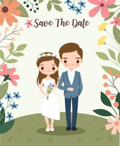 wedding invitations cards Cute bride and groom on flower wedding invitations card Premium Vector Wedding Drawing, Wedding Art, Wedding Humor, Wedding Couples, Rustic Wedding, Bride And Groom Cartoon, Wedding Couple Cartoon, Funny Wedding Invitations, Wedding Party Invites