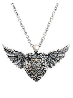 Silver heart with wings with crystal rhinestones. Shoppingbuyfaith.com