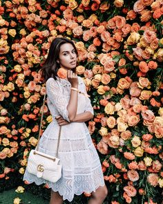ZIMMERMANN Adorn embroidered mini bell dress, SOPHIA WEBSTER Lilico floral leather sandals, GUCCI GG Marmot leather crossbody bag