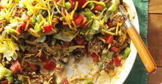 Perfect for parties, this dish to share is a crowd favorite. Ground beef taco dip uses grass fed beef from Grass Run Farms. Recipes Appetizers And Snacks, Meat Appetizers, Dip Recipes, Baby Food Recipes, Mexican Food Recipes, Beef Recipes, Food Baby, Party Recipes, Mexican Dishes