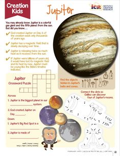 CREATION KIDS: JUPITER! You're never too young to be a creation scientist! Discover fun facts about God's creation with ICR's special Creation Kids learning and activities page. Download the FREE printable here: Science Resources, Activities, Gas Giant, Popular Books, Astronomy, Kids Learning, Free Printables, Fun Facts, Age