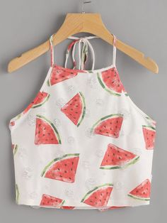 To find out about the Watermelon Print Frayed Dot Detail Halter Top at SHEIN, part of our latest Tank Tops & Camis ready to shop online today! Girls Fashion Clothes, Teen Fashion Outfits, Girl Fashion, Womens Fashion, Ootd Fashion, Fashion Black, Cheap Fashion, Fashion Ideas, Fashion Dresses