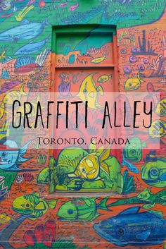 Graffiti Alley is the name given to a long alleyway in Toronto, just south of Queen Street West, which features a massive collection of vibrant and colourfully painted, unique and detailed murals a… Ontario Travel, Toronto Travel, Toronto Tourism, Toronto Vacation, Visit Toronto, Toronto Ontario Canada, Ottawa, Montreal, Vancouver