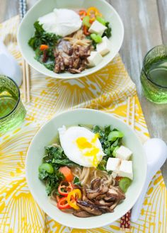 Tofu, Kale, Shiitake Mushroom Ramen Noodle Soup. YUM.