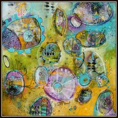 Contemporary Abstract Acrylic paintingAnswers Come in Many Shapes 20 x 20   Pods and Portal Collection  by Jodi Ohl