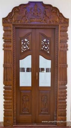 Surya Palagai Design for Main Door Wooden Main Door Design, Double Door Design, Pooja Room Door Design, Design Room, Gate Design, Wooden Front Doors, Wood Interior Design, Room Interior, Pooja Rooms