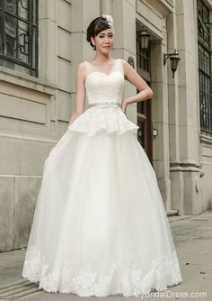 V-neck Tulle Straps Vintage Wedding Dress With Silvery Waistband