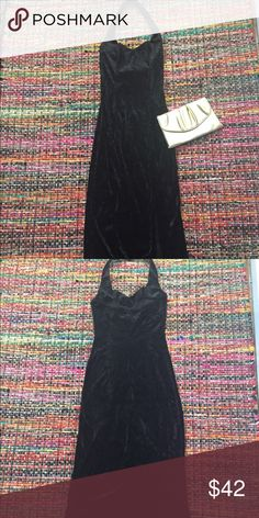 "Vintage Long Velvet Dress w/ Slit In Great Condition, Bust: 14"" Length:44"" Price Firm Vintage Dresses"