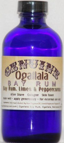 4 oz Genuine Ogallala Bay Rum, Limes & Peppercorns . Old-time looking bottle and label. by Ogallala Bay Rum. $13.95. Genuine Ogallala Bay Rum Products. Comes in Cobalt Blue Bottle with Special Card. 8 oz Genuine Ogallala Bay Rum, Limes & Peppercorns Aftershave. Old-time looking bottle and label. The bottle itself would make a great bathroom decoration...but you'll definitely want to use the product too! Genuine Ogallala Bay Rum products have a bold, refreshing fragrance...like ...