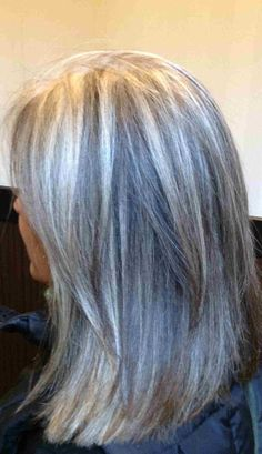 "Blonde highlights for gray hair - here's a good idea to camouflage gray hair with blonde/gray-ish highlights.  Upkeep would be easier if the highlights are more ""grey"" than blonde so not as noticeable when roots grow out."