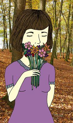 amiga en el bosque