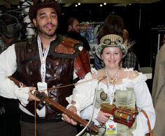 Steampunk couple at our Comikaze Expo 2015 booth. www.itcamefromplanetearth.net