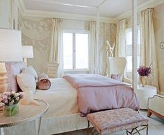 girls rooms - pink bedding duvet velvet bolster pillows white canopy bed silver nightstands round accent tables lamps brass pink floral bench stool ivory silk drapes ivory branch wallpaper white wingback wing back chair bedroom