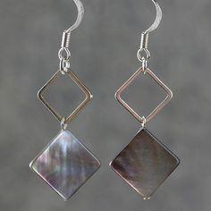earrings shell square drop loop black gray dangle abalone