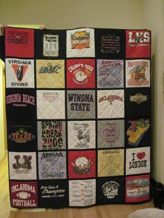 T-shirt quilt idea...I like the black border around each square.