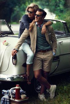 Super cute vintage photo shoot...great idea for engagement photos!
