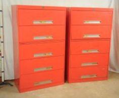 Pair Vintage Orange Lateral 5 Drawers Metal File Cabinets   Supreme  Equipment