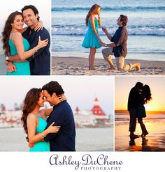 Surprise Proposal at Sunset in Coronado, CA. Green dress for beach portrait session.  Hotel del Coronado in San Diego.   Ashley DuChene Photography.