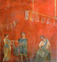 Roman fresco showing two women and a man working together. From the fullonica (dyer's shop) of Veranius Hypsaeus in Pompeii. Ancient Pompeii, Pompeii And Herculaneum, Pompeii Italy, Roman History, Art History, European History, American History, Roman Clothes, Empire Romain