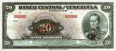 Pieza bbcv20bs-aas2 (Anverso). Billete del Banco Central de Venezuela. 20 Bolívares. Diseño A, Tipo A. Billete tipo specimen sin fecha #2