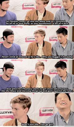 "Scorch Trials Cast Play Slang Game - Comic Con 2015 -- ""You go girl. Newt you're adorable! Ki is losing it! Maze Runner Trilogy, Maze Runner Cast, Maze Runner The Scorch, Maze Runner Thomas, Maze Runner Series, Scorch Trials Cast, Maze Runner Funny, Thomas Brodie Sangster, Dylan O'brien"