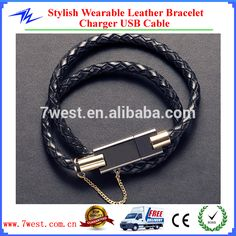 NEW Stylish Wearable Leather Wristband Bracelet Chain Charger USB Data Cable for phone