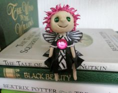 Handmade whimsical art doll, collectable miniature fairy doll, polymer clay fairy, pixie sprite, pink spikey hair, black and white dress