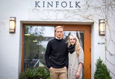 """Tim Murphy, """"Better Homes and Hipsters: Kinfolk Magazine, the Martha Stewart Living of the Portland Set,"""" The New York Times (25 April 2014). Nathan Williams and Katie Searles-Williams in Portland, at the offices of Kinfolk, the magazine they founded with Amanda Jane-Jones. Photo by Leah Nash for The New York Times."""