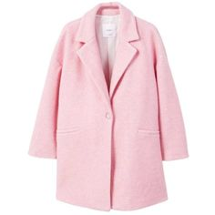Unstructured Wool-Blend Coat (185 RON) ❤ liked on Polyvore featuring outerwear, coats, jackets, pink coats, lapel coat, oversized lapel coat, oversized coats and wool blend coat